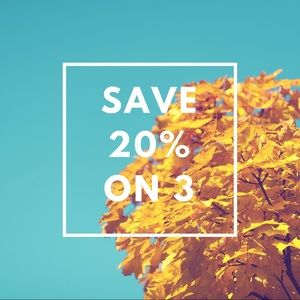 20% off 3 or more items! Savings!